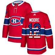 Wholesale Cheap Adidas Canadiens #12 Dickie Moore Red Home Authentic USA Flag Stitched NHL Jersey