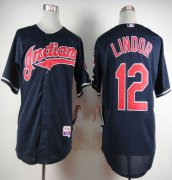 Wholesale Cheap Indians #12 Francisco Lindor Navy Blue Cool Base Stitched MLB Jersey
