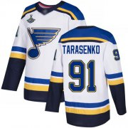 Wholesale Cheap Adidas Blues #91 Vladimir Tarasenko White Road Authentic Stanley Cup Champions Stitched NHL Jersey
