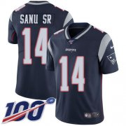 Wholesale Cheap Nike Patriots #14 Mohamed Sanu Sr Navy Blue Team Color Youth Stitched NFL 100th Season Vapor Untouchable Limited Jersey