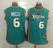 Wholesale Cheap Men's Detroit Pistons #6 Terry Mills Teal Green Hardwood Classics Soul Swingman Throwback Jersey