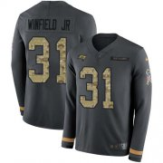 Wholesale Cheap Nike Buccaneers #31 Antoine Winfield Jr. Anthracite Salute to Service Youth Stitched NFL Limited Therma Long Sleeve Jersey