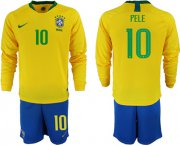 Wholesale Cheap Brazil #10 Pele Home Long Sleeves Soccer Country Jersey