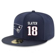 Wholesale Cheap New England Patriots #18 Matthew Slater Snapback Cap NFL Player Navy Blue with White Number Stitched Hat