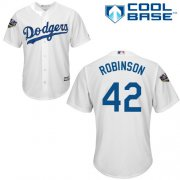 Wholesale Cheap Dodgers #42 Jackie Robinson White Cool Base 2018 World Series Stitched Youth MLB Jersey