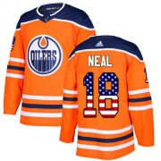 Wholesale Cheap Adidas Oilers #18 James Neal Orange Home Authentic USA Flag Stitched NHL Jersey