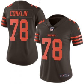 Wholesale Cheap Nike Browns #78 Jack Conklin Brown Women\'s Stitched NFL Limited Rush Jersey