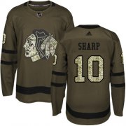 Wholesale Cheap Adidas Blackhawks #10 Patrick Sharp Green Salute to Service Stitched Youth NHL Jersey