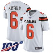 Wholesale Cheap Nike Browns #6 Baker Mayfield White Men's Stitched NFL 100th Season Vapor Limited Jersey