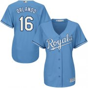 Wholesale Cheap Royals #16 Paulo Orlando Light Blue Alternate Women's Stitched MLB Jersey