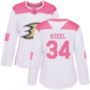 Wholesale Cheap Adidas Ducks #34 Sam Steel White/Pink Authentic Fashion Women's Stitched NHL Jersey