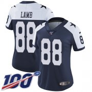 Wholesale Cheap Nike Cowboys #88 CeeDee Lamb Navy Blue Thanksgiving Women's Stitched NFL 100th Season Vapor Throwback Limited Jersey
