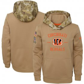 Wholesale Cheap Youth Cincinnati Bengals Nike Khaki 2019 Salute to Service Therma Pullover Hoodie