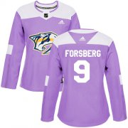 Wholesale Cheap Adidas Predators #9 Filip Forsberg Purple Authentic Fights Cancer Women's Stitched NHL Jersey