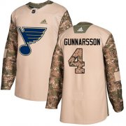 Wholesale Cheap Adidas Blues #4 Carl Gunnarsson Camo Authentic 2017 Veterans Day Stitched NHL Jersey