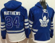 Wholesale Cheap Maple Leafs #34 Auston Matthews Blue Name & Number Pullover NHL Hoodie