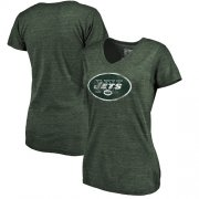 Wholesale Cheap Women's New York Jets NFL Pro Line by Fanatics Branded Green Distressed Team Logo Tri-Blend T-Shirt