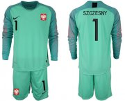 Wholesale Cheap Poland #1 Szczesny Green Goalkeeper Long Sleeves Soccer Country Jersey