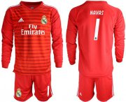 Wholesale Cheap Real Madrid #1 Navas Red Goalkeeper Long Sleeves Soccer Club Jersey