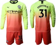 Wholesale Cheap Manchester City #31 Ederson M. Third Long Sleeves Soccer Club Jersey