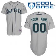 Wholesale Cheap Mariners Customized Authentic Grey Cool Base MLB Jersey (S-3XL)
