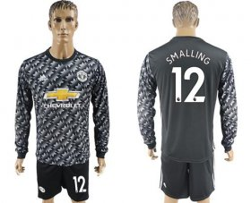 Wholesale Cheap Manchester United #12 Smalling Black Long Sleeves Soccer Club Jersey