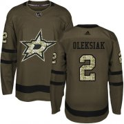 Cheap Adidas Stars #2 Jamie Oleksiak Green Salute to Service Youth Stitched NHL Jersey