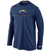Wholesale Cheap Nike Los Angeles Chargers Authentic Logo Long Sleeve T-Shirt Dark Blue