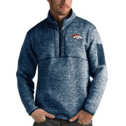 Wholesale Cheap Denver Broncos Antigua Fortune Quarter-Zip Pullover Jacket Heather Navy