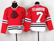 Wholesale Cheap Blackhawks #7 Brent Seabrook Red(Red Skull) Stitched Youth NHL Jersey