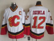 Wholesale Cheap Flames #12 Jarome Iginla White/Black CCM Throwback Stitched NHL Jersey