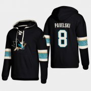 Wholesale Cheap San Jose Sharks #8 Joe Pavelski Black adidas Lace-Up Pullover Hoodie