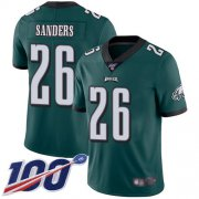 Wholesale Cheap Nike Eagles #26 Miles Sanders Midnight Green Team Color Men's Stitched NFL 100th Season Vapor Limited Jersey