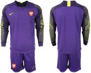 Wholesale Cheap Poland Blank Purple Goalkeeper Long Sleeves Soccer Country Jersey