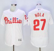 Wholesale Cheap Phillies #27 Aaron Nola White(Red Strip) Flexbase Authentic Collection Stitched MLB Jersey