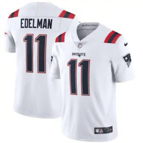 Wholesale Cheap New England Patriots #11 Julian Edelman Men\'s Nike White 2020 Vapor Limited Jersey