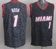 Wholesale Cheap Miami Heat #1 Chris Bosh Black Leopard Print Fashion Jersey