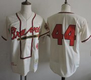 Wholesale Cheap Mitchell And Ness 1957 Braves #44 Hank Aaron Cream Throwback Stitched MLB Jersey