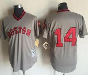 Wholesale Cheap Mitchell and Ness 1975 Red Sox #14 Jim Rice Grey Stitched Throwback MLB Jersey
