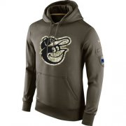 Wholesale Cheap Men's Baltimore Orioles Nike Olive Salute To Service KO Performance Hoodie