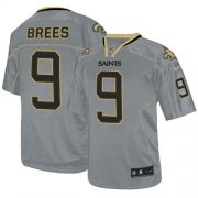 Wholesale Cheap Nike Saints #9 Drew Brees Lights Out Grey Youth Stitched NFL Elite Jersey