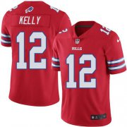 Wholesale Cheap Nike Bills #12 Jim Kelly Red Youth Stitched NFL Limited Rush Jersey