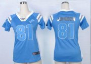Wholesale Cheap Nike Lions #81 Calvin Johnson Light Blue Team Color Women's Stitched NFL Elite Draft Him Shimmer Jersey