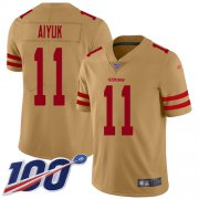 Wholesale Cheap Nike 49ers #11 Brandon Aiyuk Gold Youth Stitched NFL Limited Inverted Legend 100th Season Jersey