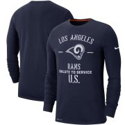 Wholesale Cheap Men's Los Angeles Rams Nike Navy 2019 Salute to Service Sideline Performance Long Sleeve Shirt