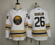 Wholesale Cheap Youth Buffalo Sabres #26 Rasmus Dahlin White With Gold 50th Anniversary Adidas Stitched NHL Jersey