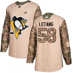 Wholesale Cheap Adidas Penguins #58 Kris Letang Camo Authentic 2017 Veterans Day Stitched NHL Jersey