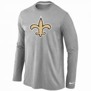 Wholesale Cheap Nike New Orleans Saints Logo Long Sleeve T-Shirt Grey
