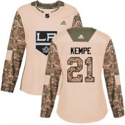 Wholesale Cheap Adidas Kings #21 Mario Kempe Camo Authentic 2017 Veterans Day Women's Stitched NHL Jersey