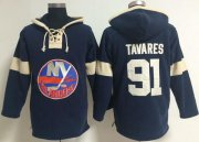 Wholesale New York Islanders #91 John Tavares Dark Blue Pullover NHL Hoodie